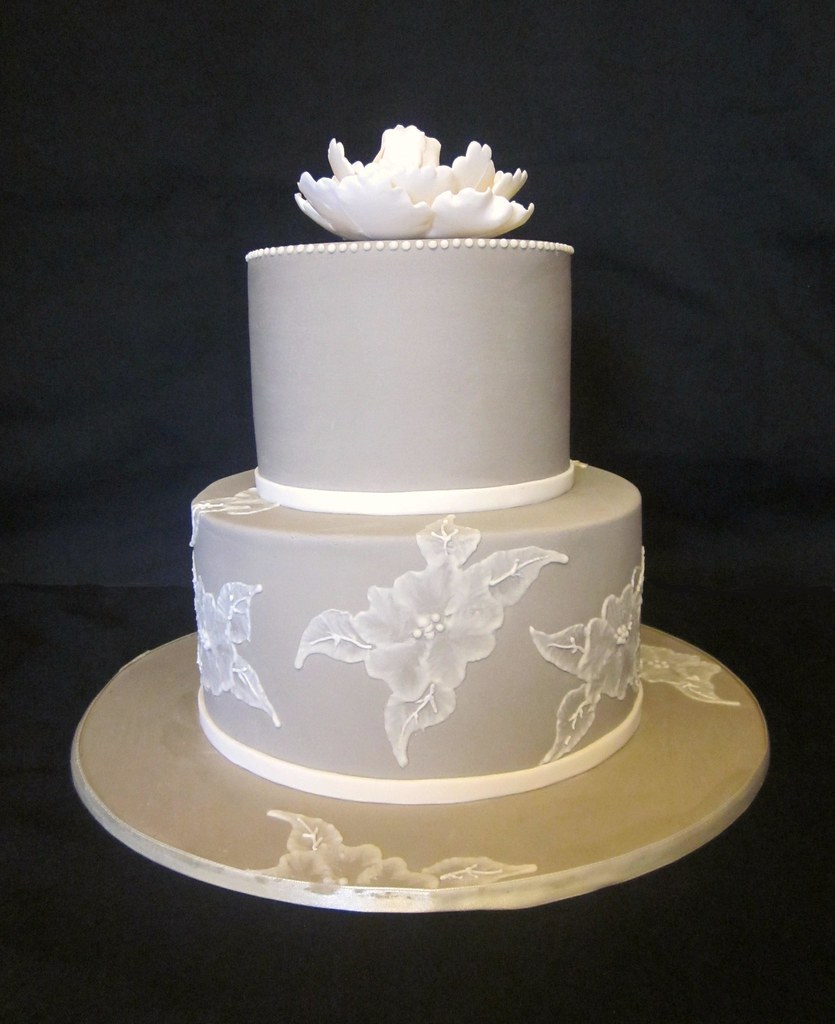 embroidered lace wedding cake white icing brush embroidery wedding cake taupe coloured icing 14011
