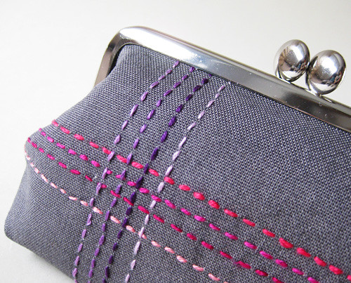 medium pouch berry stitches | by oktak_ny