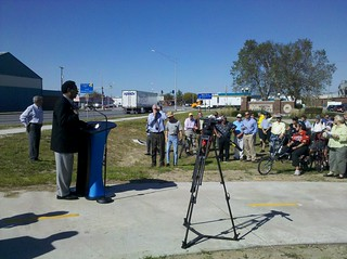 Congressman Emanuel Cleaver addresses the crowd | by MoBikeFed