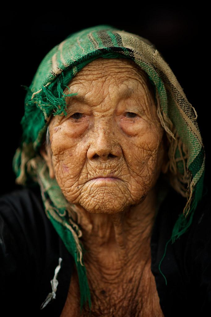 Laos - Near Luang Prabang - Hmong Village  Very Old Woman -1159