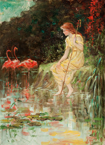 "Frederick Stuart Church (American, 1842-1924), ""Maiden with flamingos"" 