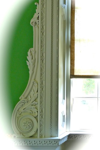 Greek fret molding under window paneled jamb acanthus for Window scroll