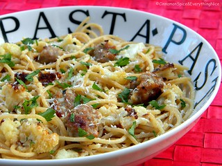 Roasted Cauliflower and Sausage Spaghetti | by CinnamonKitchn