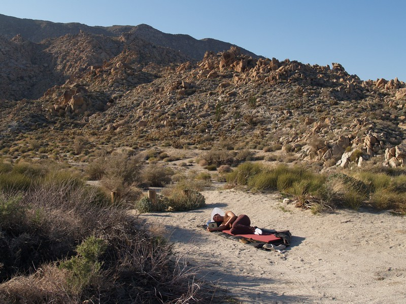Vicki taking an afternoon nap near the Mortero Palms parking area. We set up our tent there.