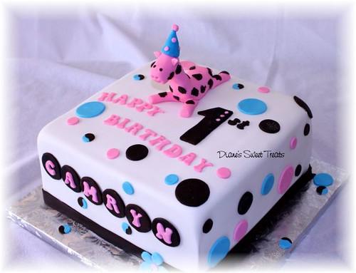 Pink Giraffe Birthday Cake
