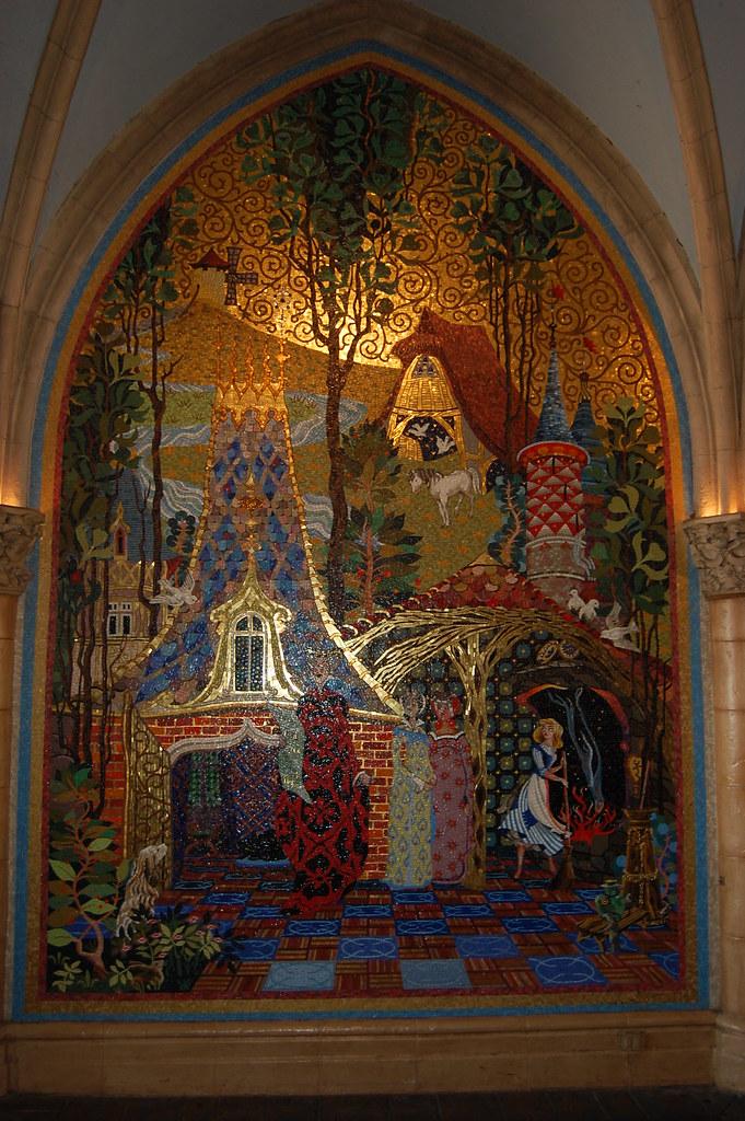 Cinderella tile mural cinderella 39 s castle fantasyland for Cinderella castle mural