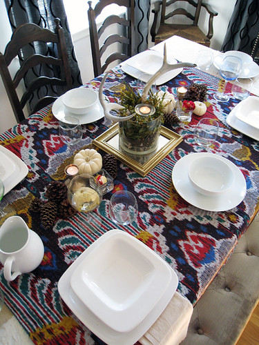 setting your table with ikat and antlers+thanksgiving tabletop decor+white dishes | by ...love Maegan