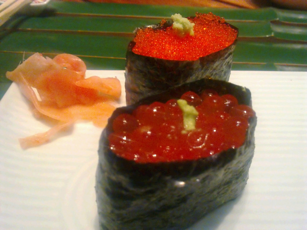 Ikura salmon roe and tobiko flying fish roe sushi flickr for Flying fish roe