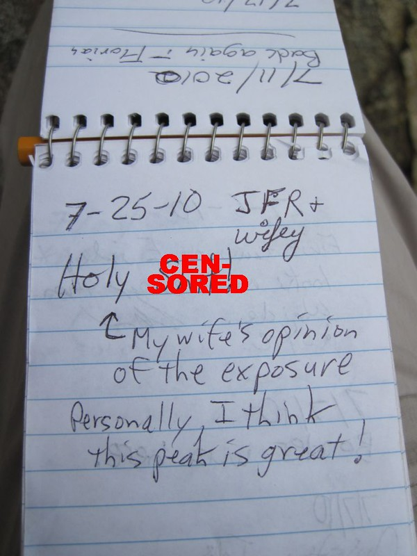 Our (edited) entry in the Cornell Peak Summit Register
