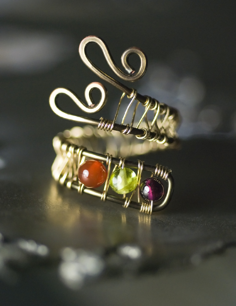 Garnet Peridot Carnelian Gold Copper Ring By Moss Amp Mist J