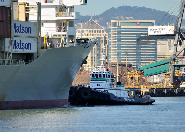 Tug millenium falcon assisting inbound matson container ship ss kauai port of oakland - Matson container homes ...