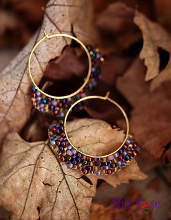 Gold-Purple Brick earings | by *Shir Rose*
