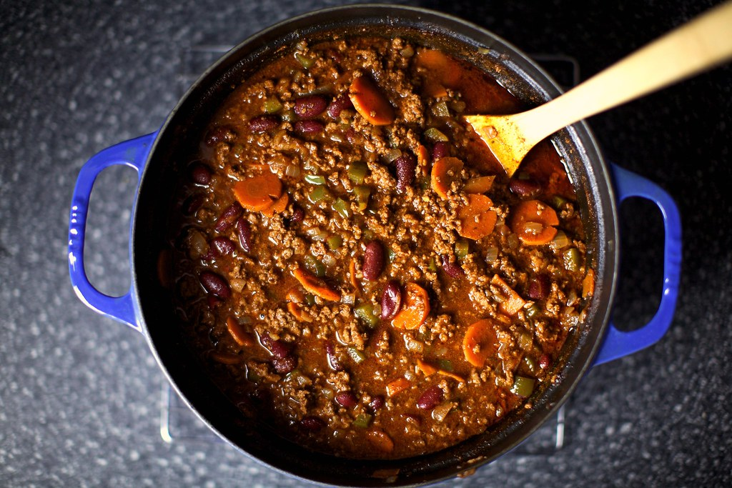 beef chili | Beef Chili with Sour Cream and Cheddar ...