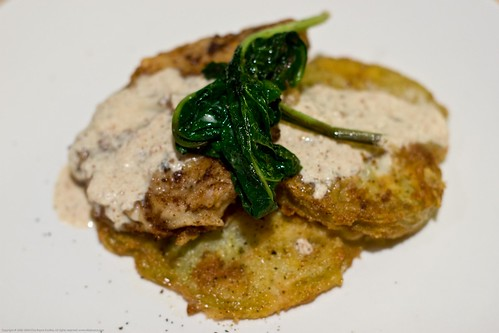 Chicken fried pork and fried green tomatoes, garden spinach | by nikaboyce
