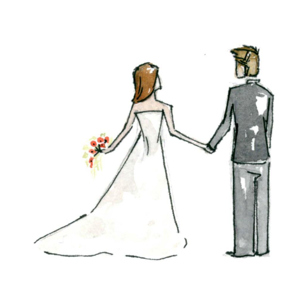 Bride Amp Groom Sketch A Floral Footsteps Original That
