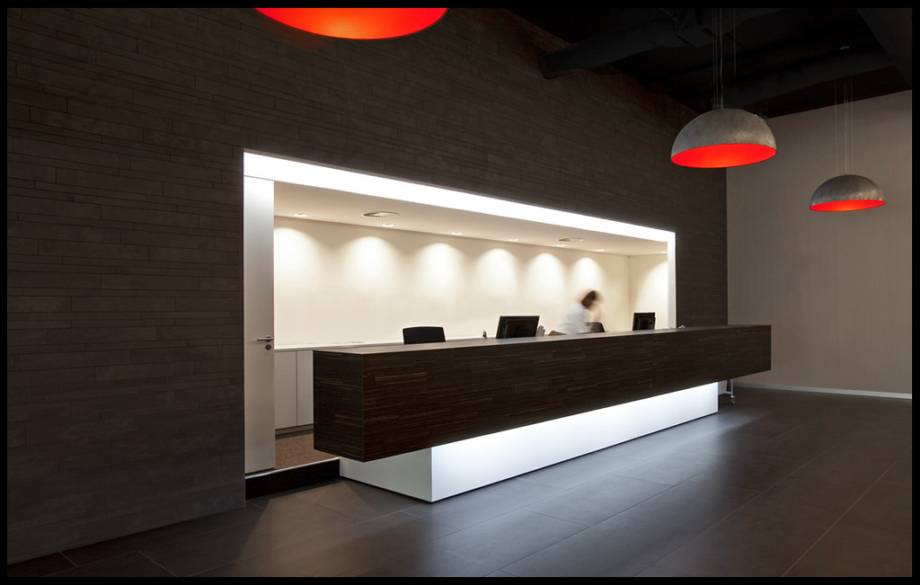Reception desk reception in the lobby of the guda project flickr - Black and red home decor plan ...
