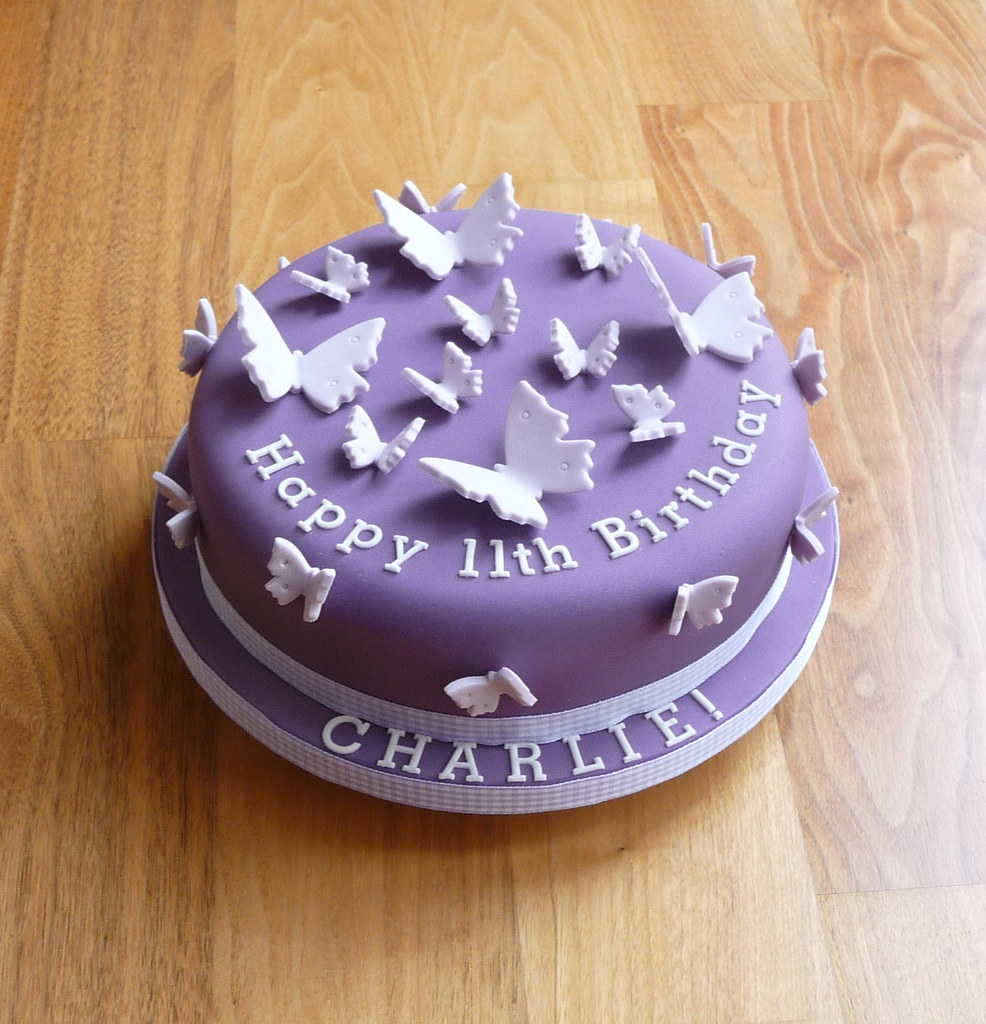 Cake Design Butterfly : Purple Butterfly Birthday Cake Chocolate mudcake ...