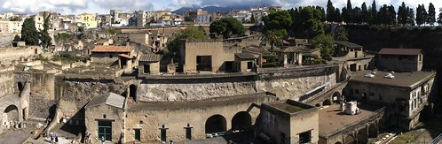 Herculaneum view from sea-side. At  right statue and altar of Marcus Nonius Balbus. The House of the Stags is directly above. Many refugees tried escape by sea. | by Ahala