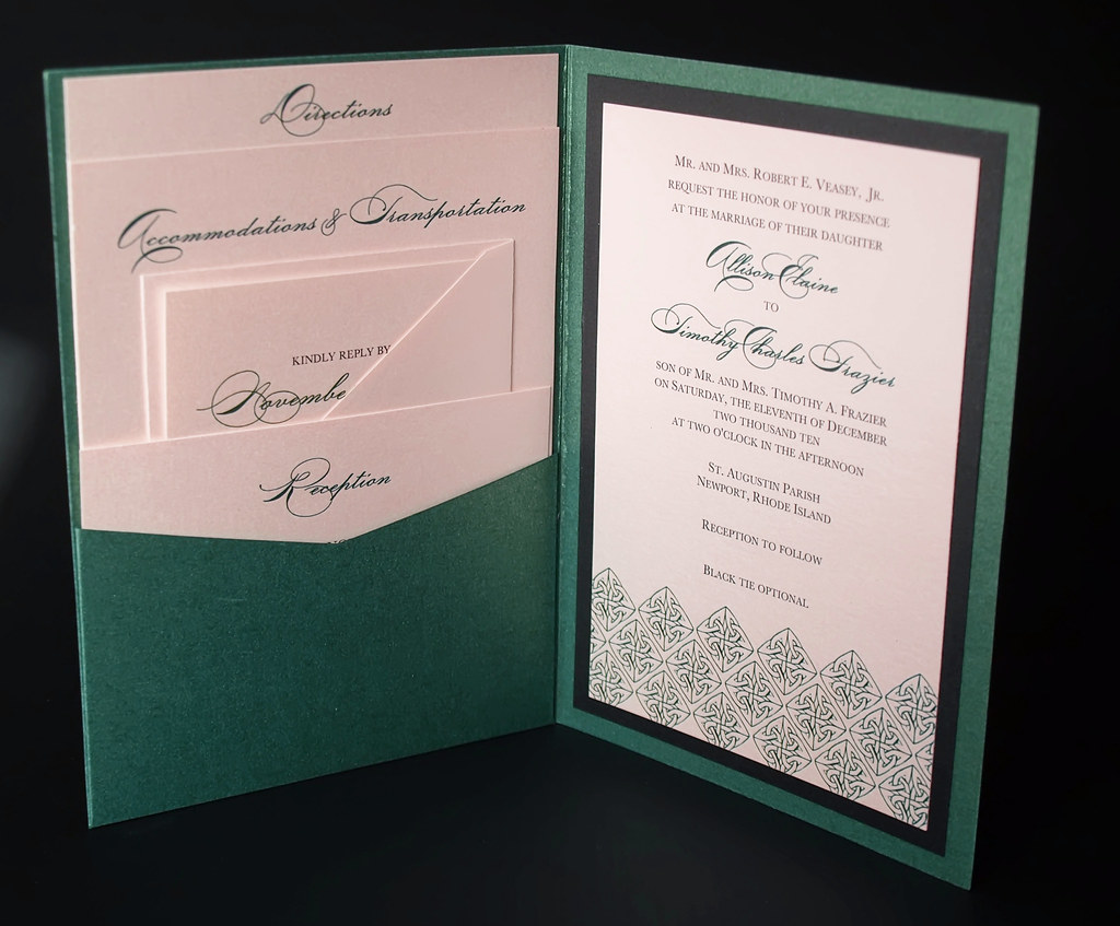 pocket wedding invitations green wedding invitation a7 pocket folded this 6699