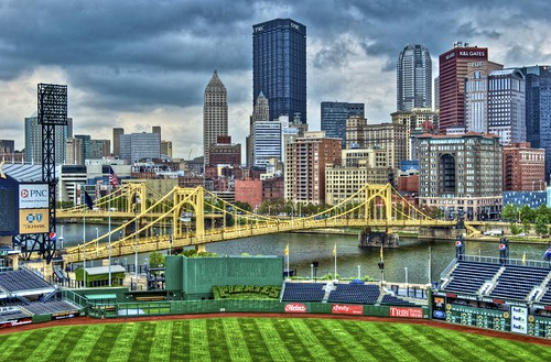 Pittsburgh skyline from pressbox of PNC Park | by Dave DiCello