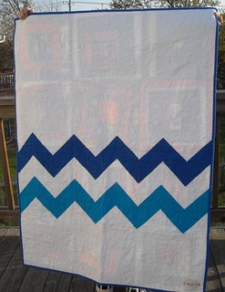 zigzag charity quilt back--blue/orange on front | by vickivictoria