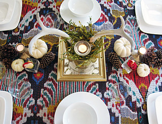 antlers centerpiece for thanksgiving table on ikat | by ...love Maegan