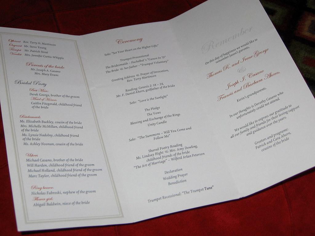 folding wedding programs