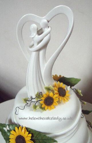 Sunflower 3 Tier Stacked Wedding Cake 5 Sunflower