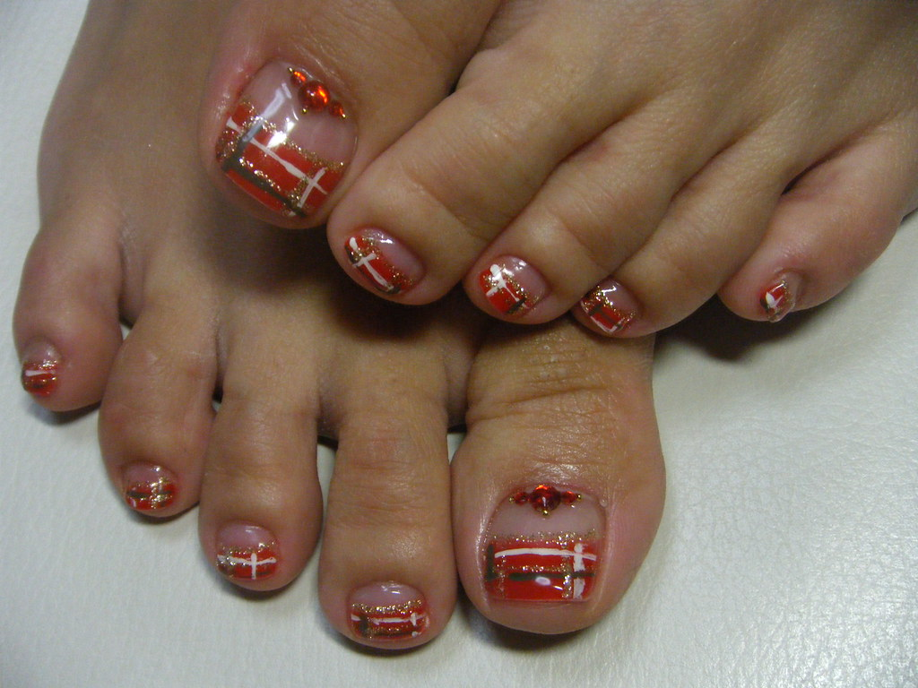 GEL Pedicure: checker design french | Negril Nail Art | Flickr