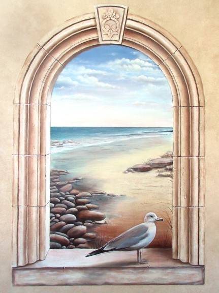 Arched window seascape painted for body design spa this - Deco trompe l oeil mural ...