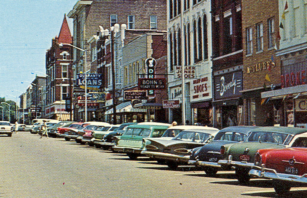 Henderson KY Circa 1960 Busy Downtown Main Street View Sto ...