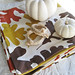leaf napkins+rope napkin holders+white pumpkins