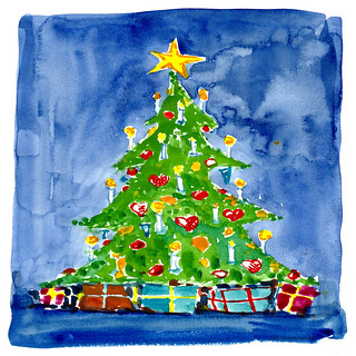christmas tree 03 watercolor | by Frits Ahlefeldt - FritsAhlefeldt.com