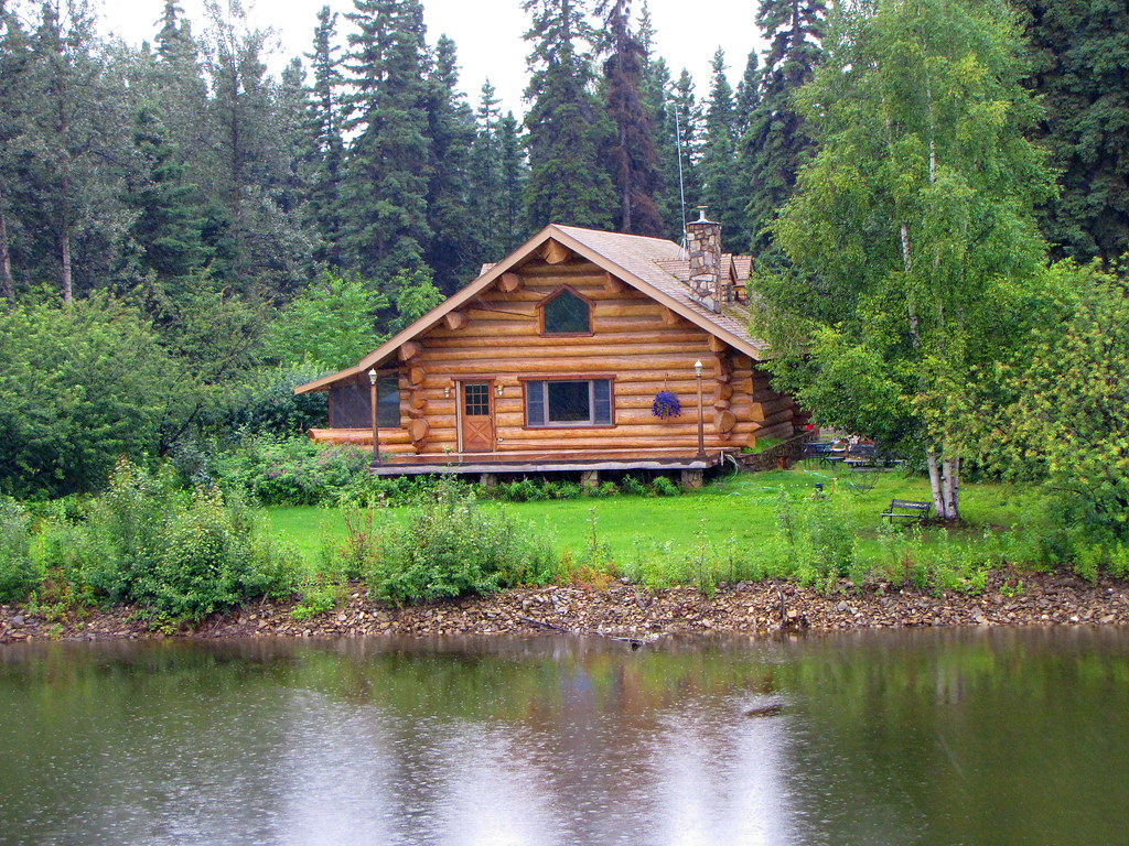 log house along the chena river  fairbanks  alaska