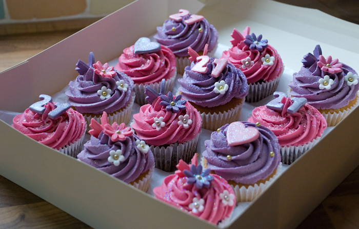 Hot Pink And Purple 21st Birthday Cupcakes For Emma Flickr