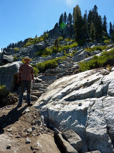 Jayson Hale putting the finishing touches on 27 step staircase | by Sierra Buttes Trail Stewardship