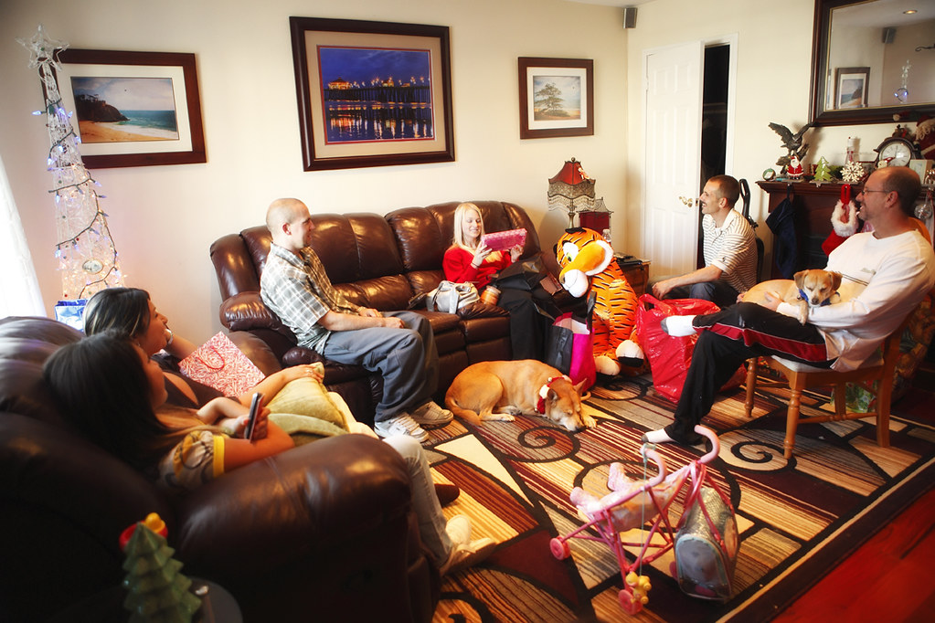 Family christmas gathering wide angled shot of my family for All in the family living room