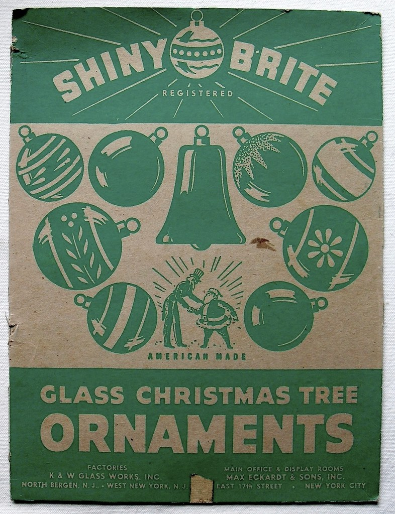 Vintage christmas decorations 1950s -  1940s 1950s Vintage Christmas Ornaments Shiny Brite Box Lid By Christian Montone