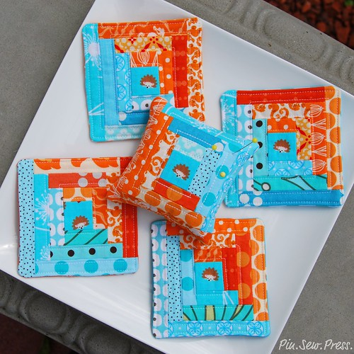 {Aqua & Tangerine} Mini Log Cabins | by Mary1602