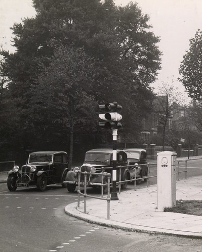 Traffic signal installation at North Ealing, Middlesex - 1937 | by mikeyashworth