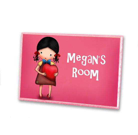 Girls personalized wooden door plaque sign kids room girls for Kids room signs
