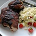 Sweet & Smoky Oven Ribs with Greek Orzo Salad