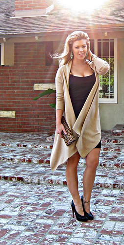 little black dress and long wrap cardigan leaopard bag dark | by ...love Maegan