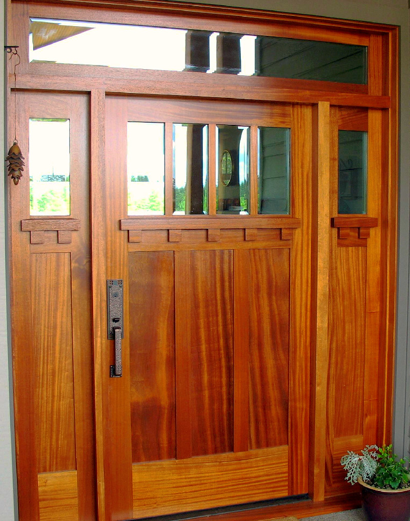 329 custom mahogany craftsman entry door system custom for Custom transom