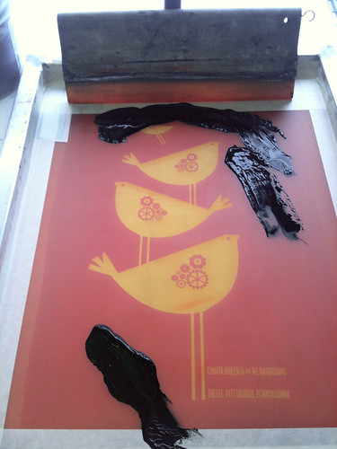 2nd color ink on the screen: Ra Ra Riot hand screenprinted poster process | by strawberryluna