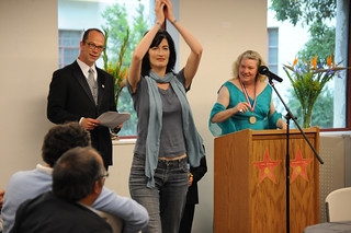 Professor Kathryn Leonard receiving an award at the 2009 Celebration of Faculty Accomplishments | by California State University Channel Islands