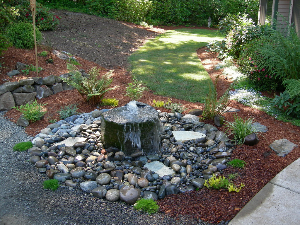 Small bubbling rock water feature and plantings for Small water features