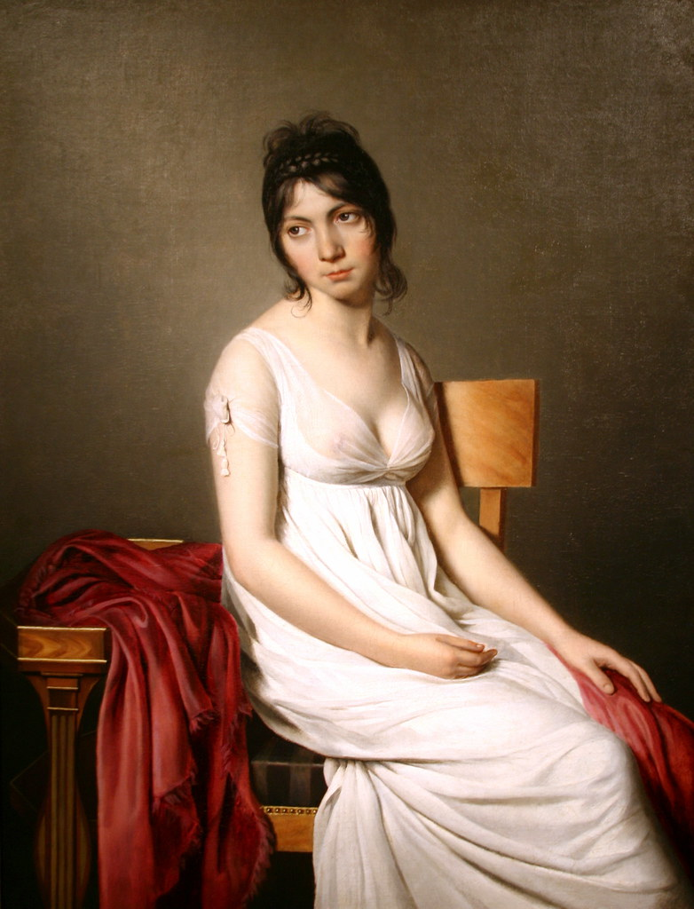 Portrait Of A Young Woman In White By Circle Of Jacques-Lo -4069