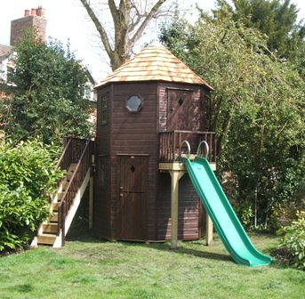 Octagonal playhouse with slide project code pc080482 for Free playhouse plans with slide
