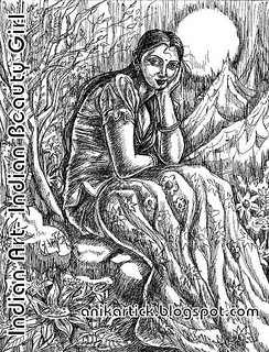 Girl in the moonlight in my Pen drawing - line Drawing - Chennai Animation Artist Anikartick,Tamilnadu,India | by ANIKARTICK ( T.Subbulapuram VASU,Andipatti,Theni )